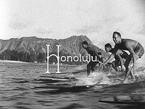 """Honolulu"": Waikiki surfers, Diamond Head."