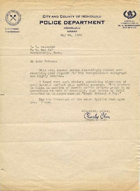 A letter from Charlie Chan
