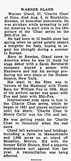 Warner Oland obituary, 'Variety,' 8/10/38