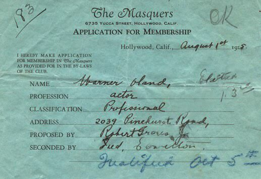 Warner Oland's Masquers application